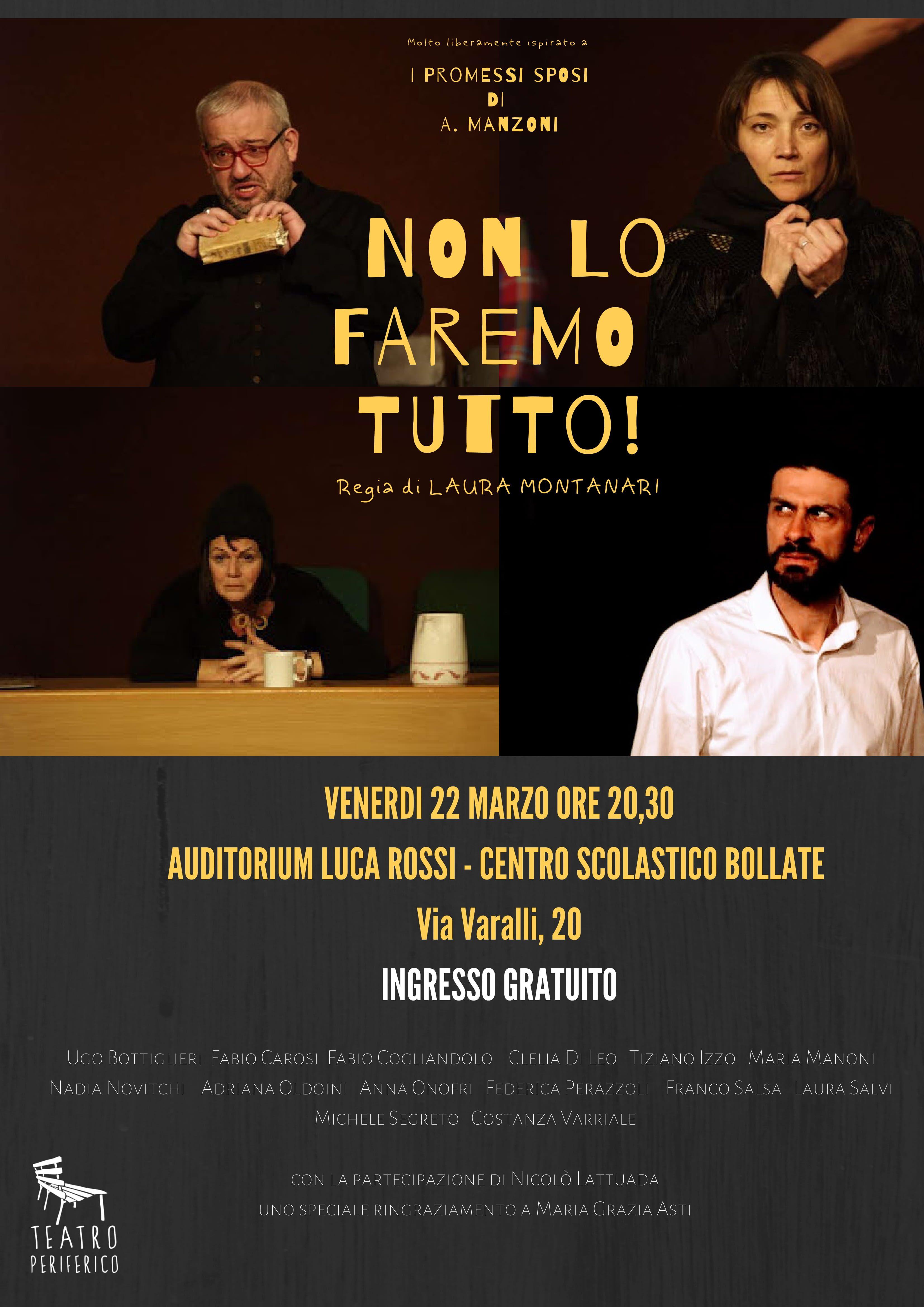 Il teatro dei prof: venerdì 22 marzo in scena con Manzoni